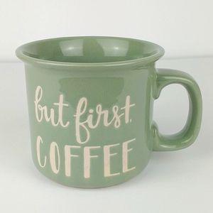 "Threshold green ""but first coffee mug"""